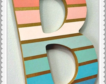 Custom Painted Decorative Wooden Wall Letter with Metallic Accents...Priced Per Letter