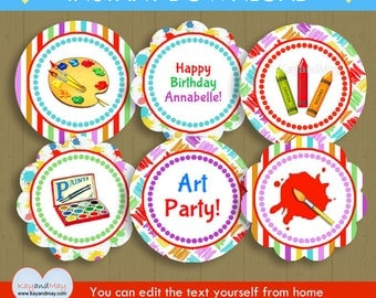 Art party Cupcake Toppers / INSTANT DOWNLOAD P-100 - paint party theme toppers - you can personalize text from home with Adobe Reader