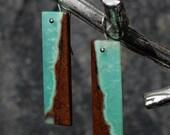 Chrysoprase Long Tile Earrings