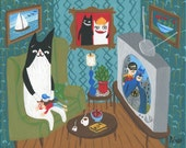 Tuxedo Cat Art Print - Whimsical Quirky Black n White Cat Pets Girl Watching Batman & Robin - Outsider Folk Artwork - Wall Decor