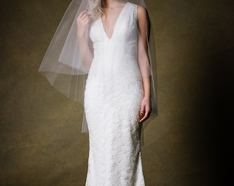SAMPLE SALE Deep V Floor Length Fitted Lace wedding Gown - One of a Kind by Cleo and Clementine