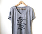 "Louisa May Alcott Quote ""She is too fond of books, and it has turned her brain"" Women's Slouchy V-neck Tee. MADE TO ORDER"