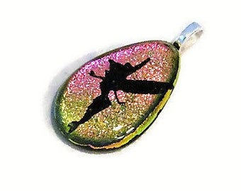 Fairy Necklace Pendant - Fairy Jewelry - Dichroic Glass Jewelry - Tinkerbell Etched - Fused Glass Jewelry - Fairy Wings