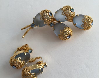 Unsigned Brooch and Clip Earring Demi Parure Set Frosted Blue Glass Collectible Jewelry