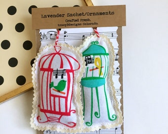 Bird Cage Sachets, Music Note Bird Ornaments, Lavender Bird Sachets,  Songbird Sachets,Lovebird sachets, lavender Sachet Set of 2, No. 62