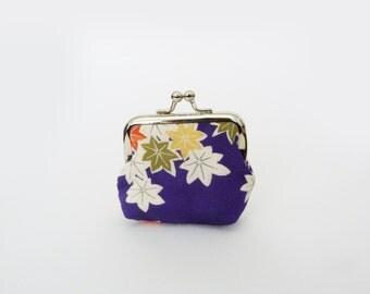 Coin purse, purple maple leaf vintage kimono fabric, silk purse