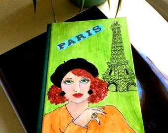 new product...PARIS BOOK COVER, hand painted, A Paris Moment, green, Paris, gift for book lover, coffee table book, Eiffel Tower, Le Marais