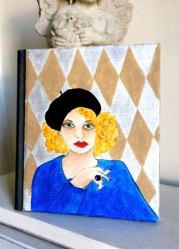 new product...PARIS BOOK COVER, hand painted, In Your Own Write, diamond, Paris, gift for book lover, coffee table book, diy printing, beret