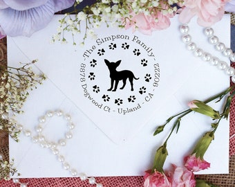 Chihuahua Dog Stamp, Chihuahua Lover Self Inking Custom Return Address Stamp, Cute Stamp for Chihuahua Lover, Dog Stamp --10345-PI53-000