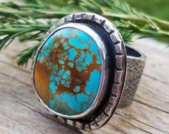 Turquoise Ring, OOAK One of a kind Art Jewelry, Blue Aztec Nevada Turquoise Gemstone, Statement Cocktail Chunky Ring, Cowgirl Boho Style