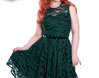 Lace Dress Wedding Dark Green - ESTELLE_08