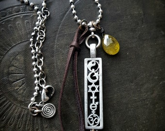 Amulet, Coexist, Ubuntu, Talisman, Crystal, Leather, Citrine, Gemstone, Pearls, Charms, Sterling Silver, Spiritual, Beaded Necklace