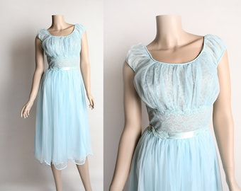 Vintage 1960s Slip Nightie - Powder Blue Negligee Nylon Sheer Lace Nightgown Slip Lingerie Dolly Dress with Ribbon Bow - Medium