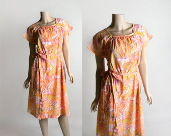 Vintage 1960s Swirl Wrap Dress - Psychedelic Print Paisley Peach Orange and Pink Floral Dress - Medium Large