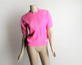 Vintage 1960s Knit Sweater Blouse - Hot Pink Bright Neon Fluorescent Bubblegum Cable Knit Style Top - Small Medium