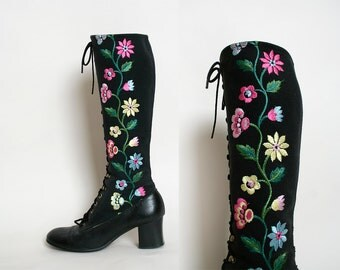 RESERVED - Vintage 1960s Boots - Black Embroidered Floral Go Go Style Knee High Lace Up Boots - Size 7