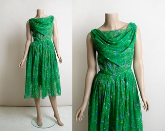 Vintage 1960s Dress - Chiffon Party Dress - Emerald Green and Sky Blue Floral Print - Draped Cowl Neckline - Midi Tea Length - Small