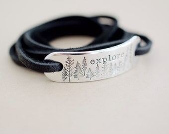 Explore Bracelet - Nature inspired Bracelet - Hand stamped Adventure Wrap Bracelet