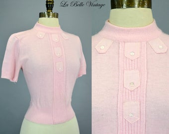 Pink Pinup Sweater S ~ Vintage 1960s Fuzzy Top ~ Ribbon Detail