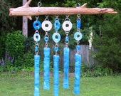 Aqua blue and clear fused glass suncatcher wind chime dangling art glass