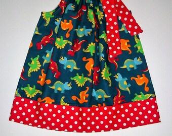 Dinosaur Dress Pillowcase Dress with Dinosaurs Girls Dress with T Rex Dinosaur Party Dinosaur Birthday Girls Dinosaur Clothes Girls Dresses