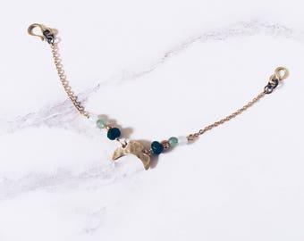 Mystic moon bracelet, brass & green gemstones, boho chic crescent moon bracelet, amazonite aventurine roots emerald