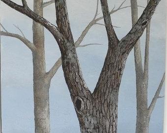 Oak Tree landscape painting - 4 feet tall - large tree painting - textured bark realistic tree art - blue sky landscape - woodland forest