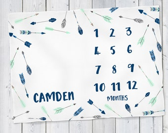 Baby Month Milestone Blanket- Arrows - Boy - Personalized Baby Blanket - Track Growth and Age - New Mom Baby Shower Gift  30x40