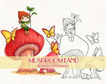 Digital Stamp Mushroom Land Elf, Digi Download, Fantasy Fairy Pixie, Toadstool Clip Art, Coloring Page, Graphic, Scrapbooking Supplies