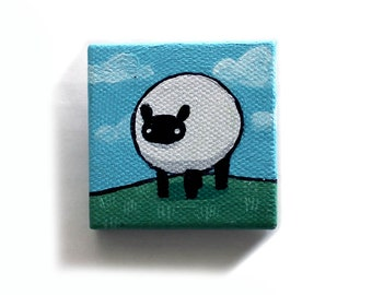 Sheep Painting Miniature - Original Farm Animal Tiny Wall Art Acrylic on Mini Canvas 2 x 2 Inches by Karen Watkins