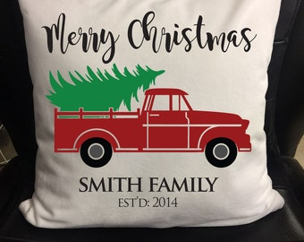 Christmas Pillow, Personalized Family Merry Christmas Pillow Cover, Pillow Wrap, Pillow Case, Pillowcase Tree Delivery