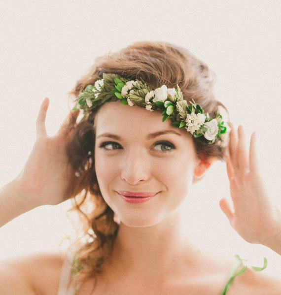 Bridal headpiece, Boho woodland hair wreath, Floral circlet, flower crown, Floral headpiece, Woodland wedding head piece - QUEEN of the WOOD