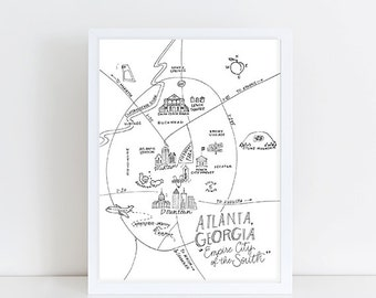Atlanta, Georgia Map Art Print