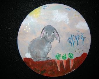"Children's Room/ Nursery Painting-Original Acrylic- 12"" Round on Canvas"