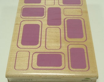 Multiple Rectangle Background Wood Mounted Rubber Stamp  From Inkadinkado