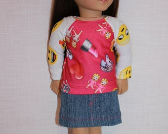 18 inch doll clothes, emotions print long sleeve shirt,  denim mini skirt,  Upbeat petites
