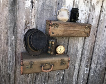 Vintage Pair of Brown Tweed  Well Loved Shelves from an Upcycled Suitcase Luggage Wall Shelf Shelves Repurposed Travel Inspired