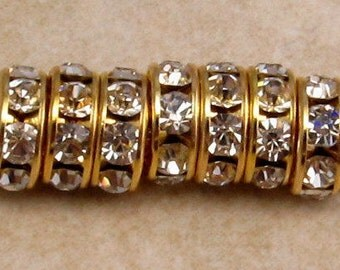 Gold Rhinestone Rondelle 8mm, Crystal 12 Pc. C336