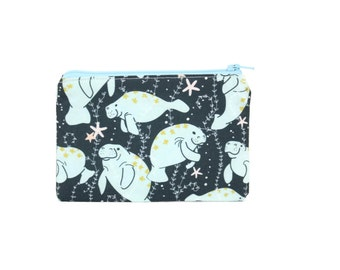 Manatee Zipper Pouch / Manatee Wallet / Sea Cow Camera Bag