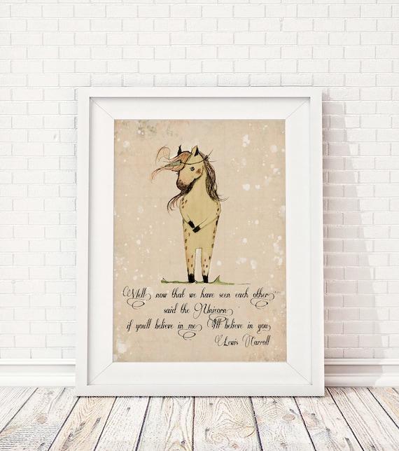 Unicorn quote, If you'll believe in me, I'll believe in you, Inspirational nursery Quote, Nursery decor, Nursery art print, unicorn nursery