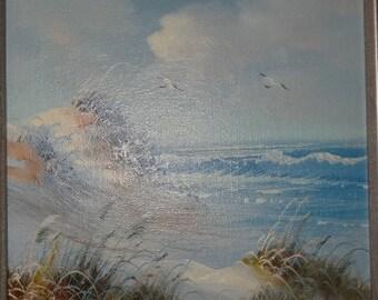 Signed Oil Painting Sand Dunes, Sea Grass, Beach, Nautical Sea Life, Sea Gull Signed, Sea Life, Beach Cottage Decor, Oil Painting
