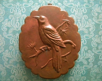 Vintage Heavy Copper Mold with Bird on a Branch with Nice Patina