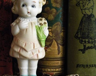 This Listing is Reserved -Antique Bisque Flapper Girl Frozen Charlotte Doll Big Eyes Holding Bouquet of Flowers Japan