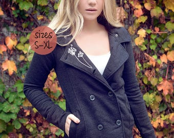 peacoat. winter coat. coat. knitted jacket. hoodie. hoodie pea coat. ellembee. printed coat. womens hoodie. woman.