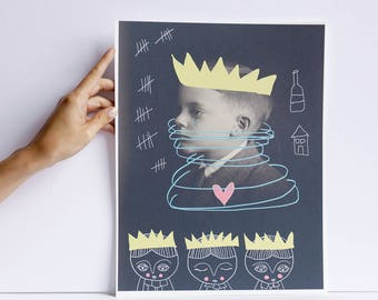 Tousse - print - cara carmina - Prince Mychkine - illustration - vintage photography - 10.6 x 13.8 inches - Fabriano paper