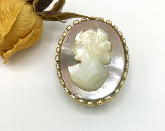 Vintage Cameo Pin or Brooch, Ladies Portrait, Gold Tone Setting, Costume Jewelry