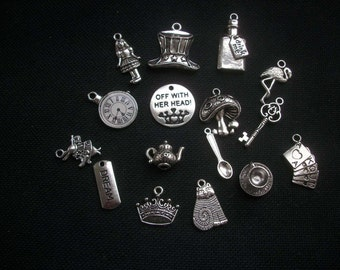 15 Assorted Alice in Wonderland Charms