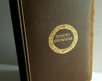 Vintage  Poetry Book - Prop - Robert Browning - Classic Poetry - Inscribed - Shabby Chic - Bookplate