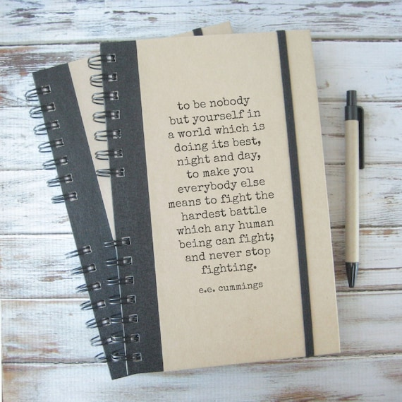 Writing Journal Graduation Gift Writer Gift Teacher Gift Positive Inspiration Boyfriend Gift Notebook Husband Gift ee cummings EC1