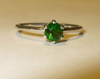 Green Tourmaline Ring - Genuine Natural Vivid Green Solitaire in Solid Sterling Silver - size 7